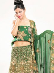 Green Embroidered Faux Georgette Lehenga Choli
