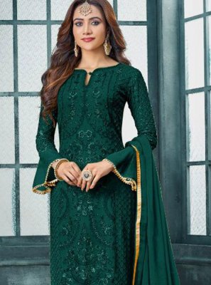 Green Embroidered Faux Georgette Pakistani Salwar Kameez