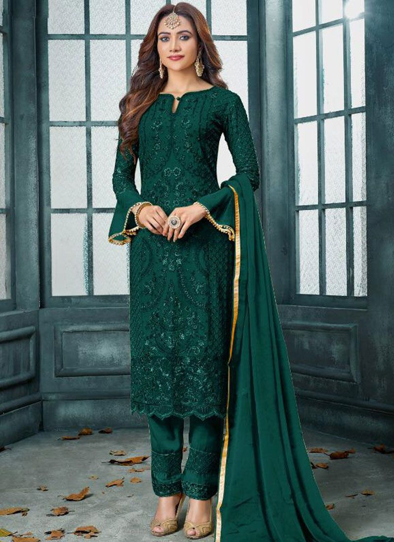 Green Embroidered Faux Georgette Pakistani Salwar Kameez