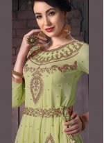 Green Embroidered Faux Georgette Pant Style Suit