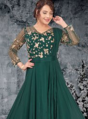 Green Embroidered Faux Georgette Readymade Designer Gown
