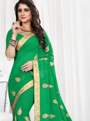 Green Embroidered Faux Georgette Traditional Saree