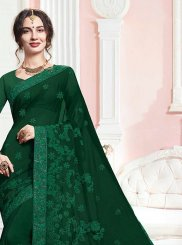 Green Embroidered Faux Georgette Trendy Saree