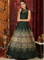 Green Embroidered Festival Designer Gown