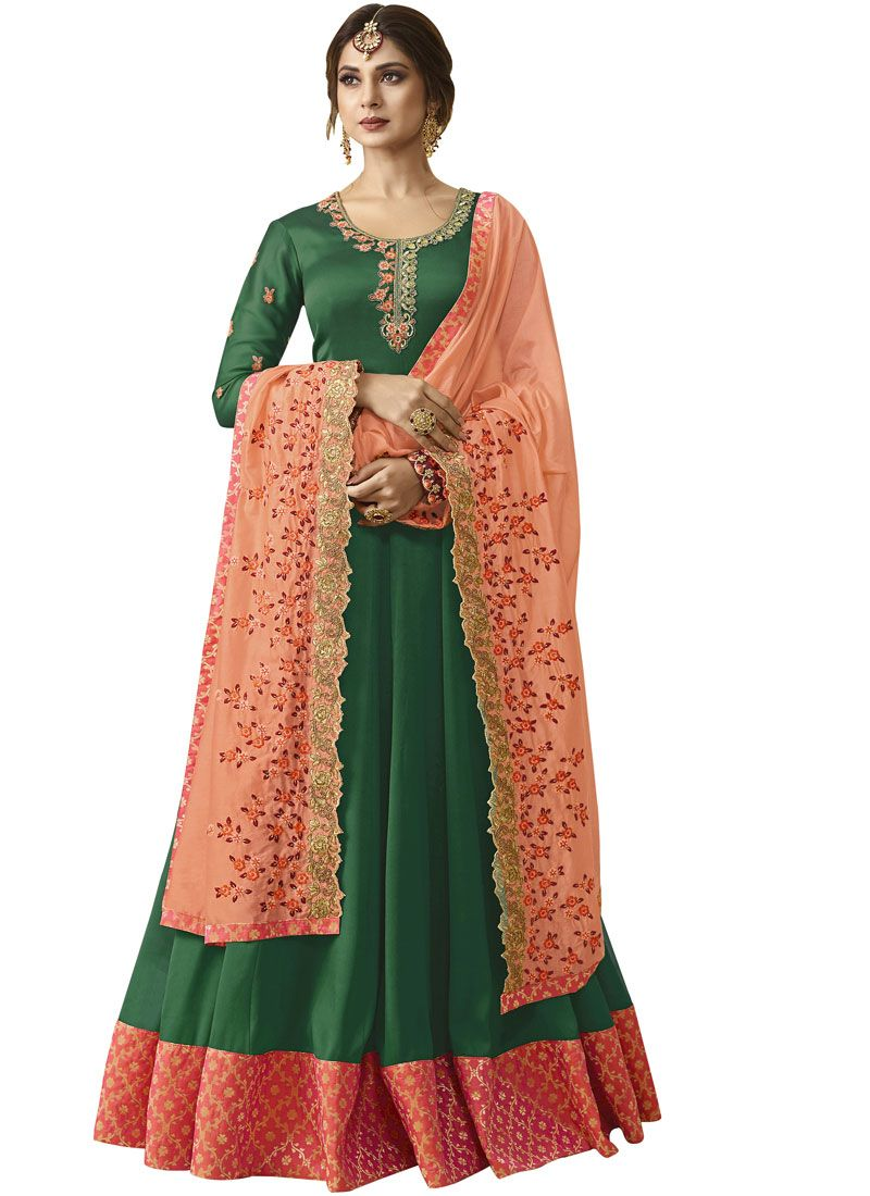 Green Embroidered Festival Floor Length Anarkali Suit