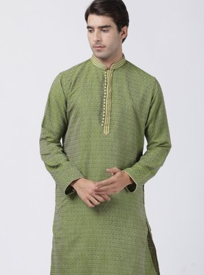 Green Embroidered Festival Kurta Pyjama