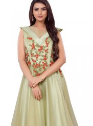 Green Embroidered Festival Readymade Gown