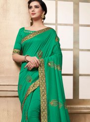 Green Embroidered Festival Traditional Designer Saree