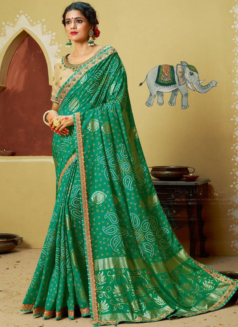 Green Embroidered Georgette Printed Saree