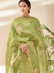 Green Embroidered Jacquard Pant Style Suit