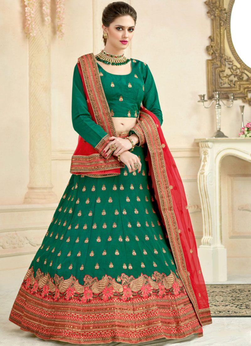 9b5add3143 Buy Green Embroidered Lehenga Choli Online : 112840 -