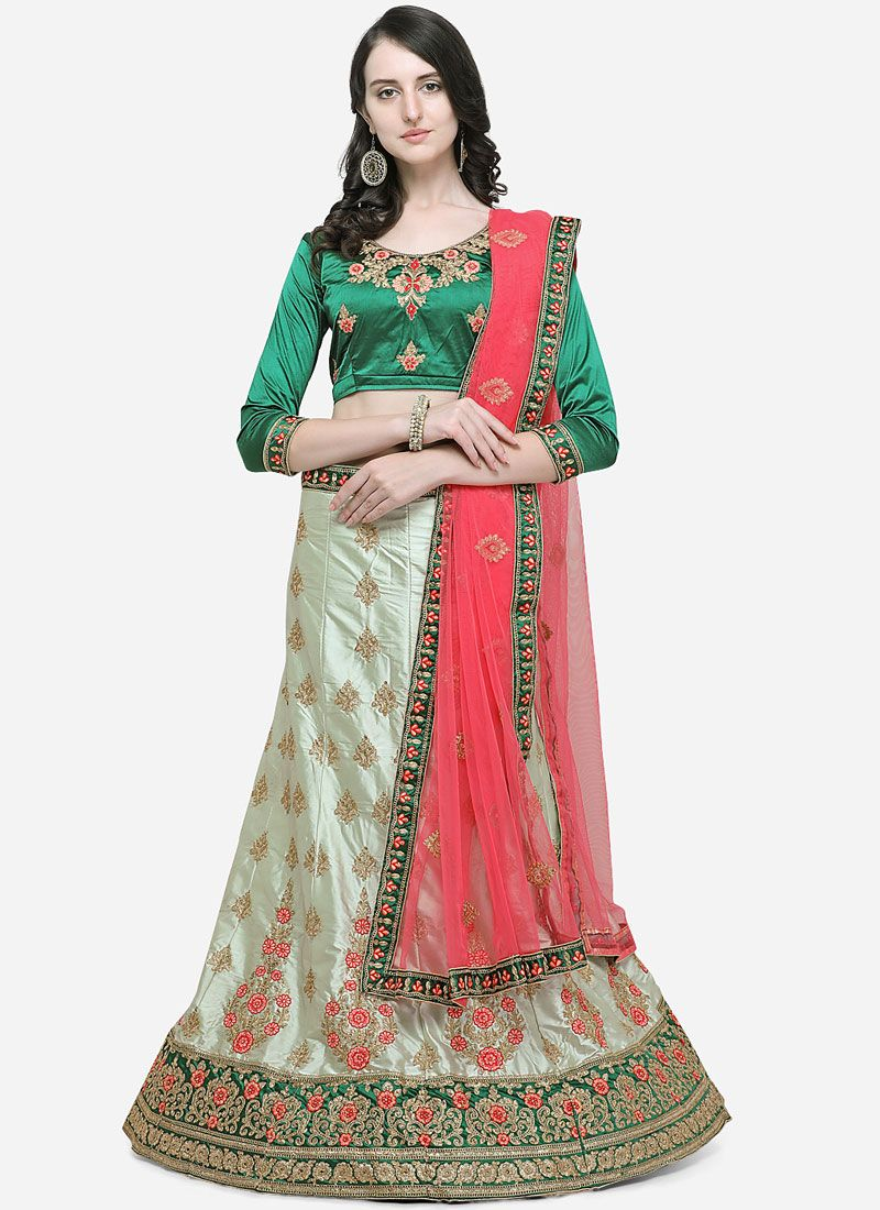 Green Embroidered Mehndi Trendy Lehenga Choli
