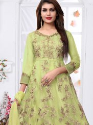 Green Embroidered Net Ankle Length Designer Suit