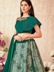 Green Embroidered Net Designer A Line Lehenga Choli