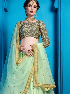 Green Embroidered Net Designer Lehenga Choli