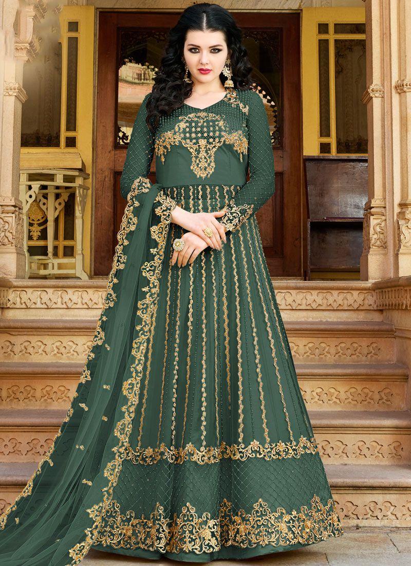 Green Embroidered Net Designer Salwar Suit