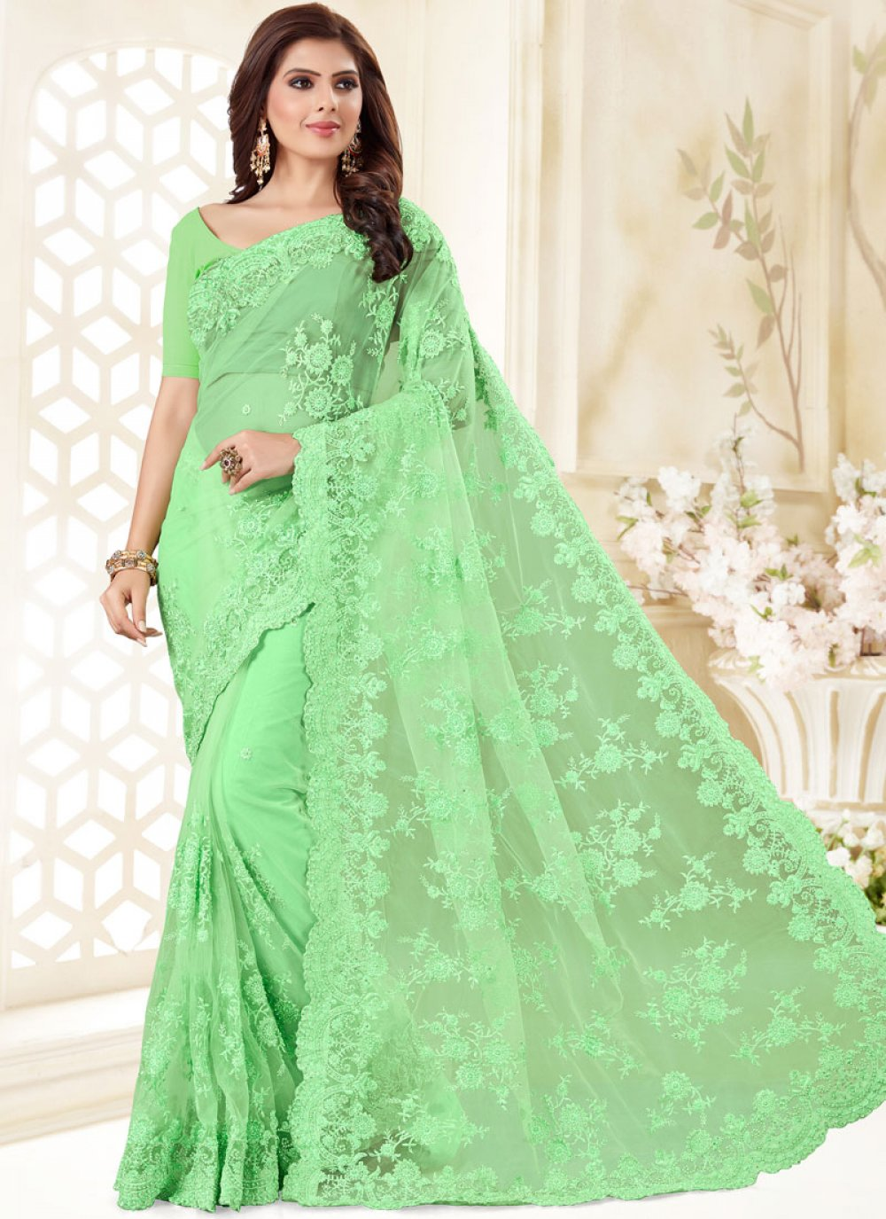 Green Embroidered Net Designer Traditional Saree