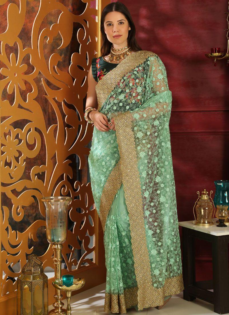Green Embroidered Organza Classic Saree