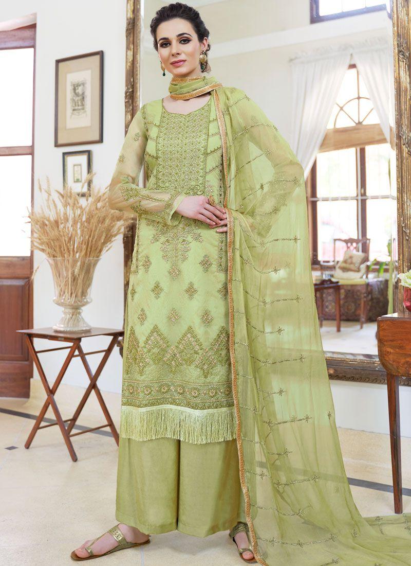 Green Embroidered Palazzo Designer Salwar Kameez