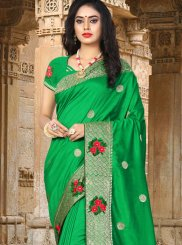 Green Embroidered Party Designer Traditional Saree