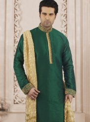 Green Embroidered Party Kurta Pyjama