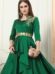 Green Embroidered Readymade Designer Gown