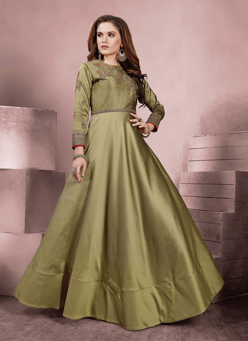 Green Embroidered Readymade Gown