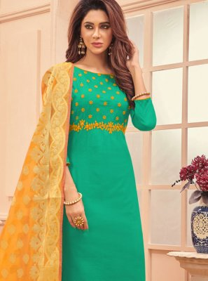Green Embroidered Reception Designer Straight Salwar Suit