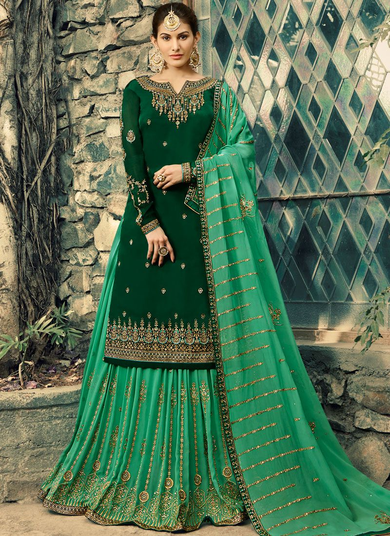 Green Embroidered Reception Palazzo Salwar Kameez