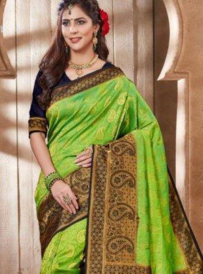 Green Embroidered Sangeet Designer Traditional Saree