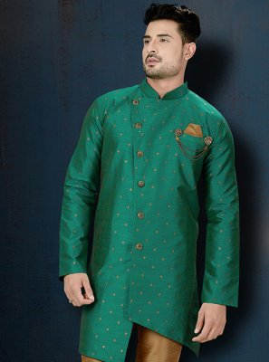 Green Embroidered Sangeet Indo Western