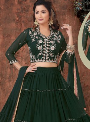 Green Embroidered Sangeet Readymade Lehenga Choli
