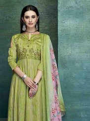 Green Embroidered Satin Designer Palazzo Salwar Kameez