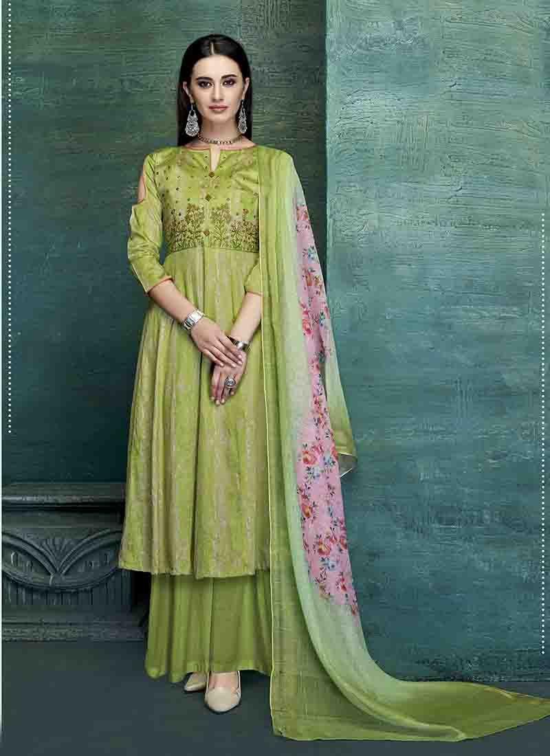 Green Embroidered Satin Designer Palazzo Salwar Kameez