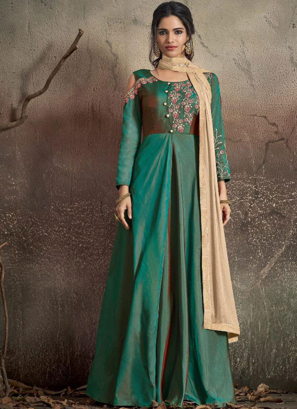 Green Embroidered Tafeta Silk Gown