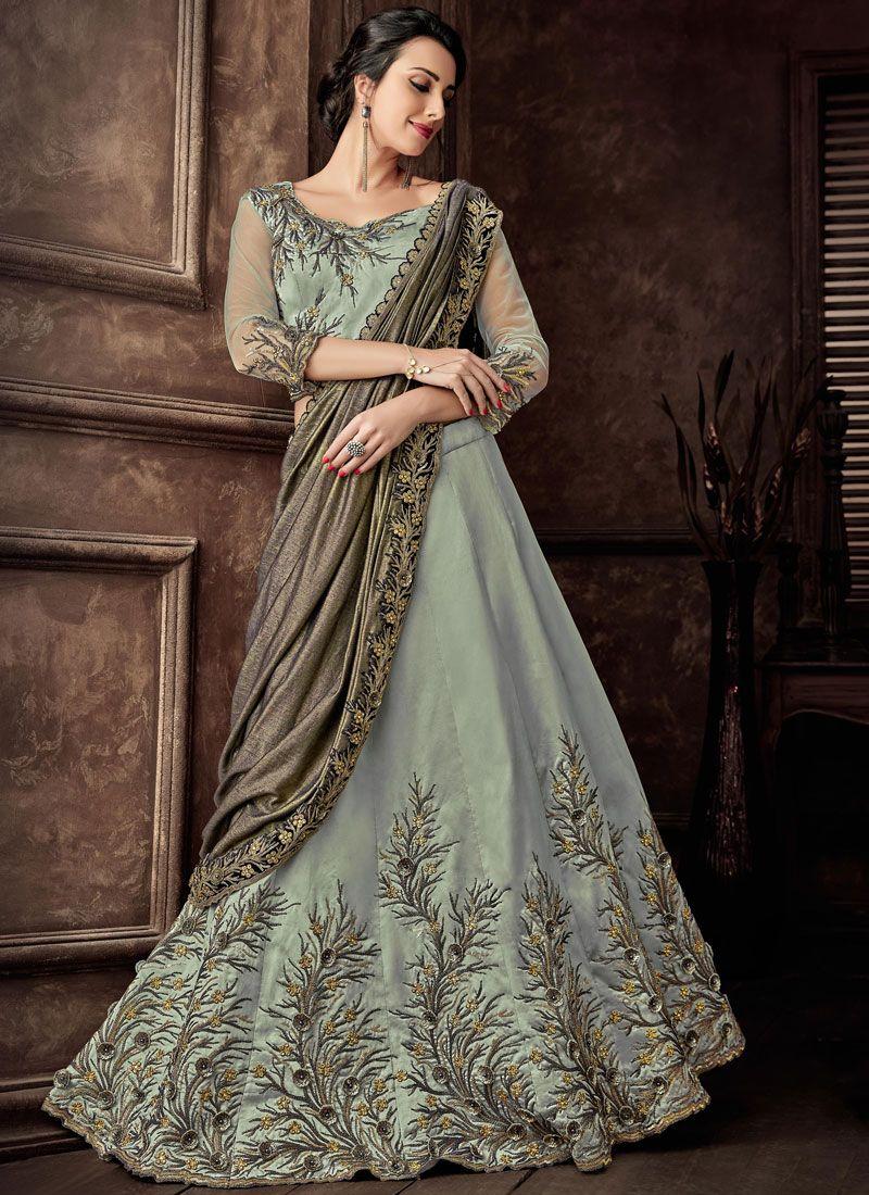 Green Embroidered Tafeta Silk Lehenga Style Saree