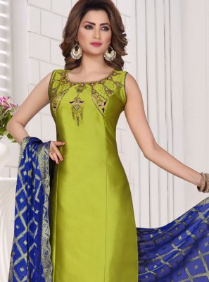 Green Embroidered Tafeta Silk Readymade Suit