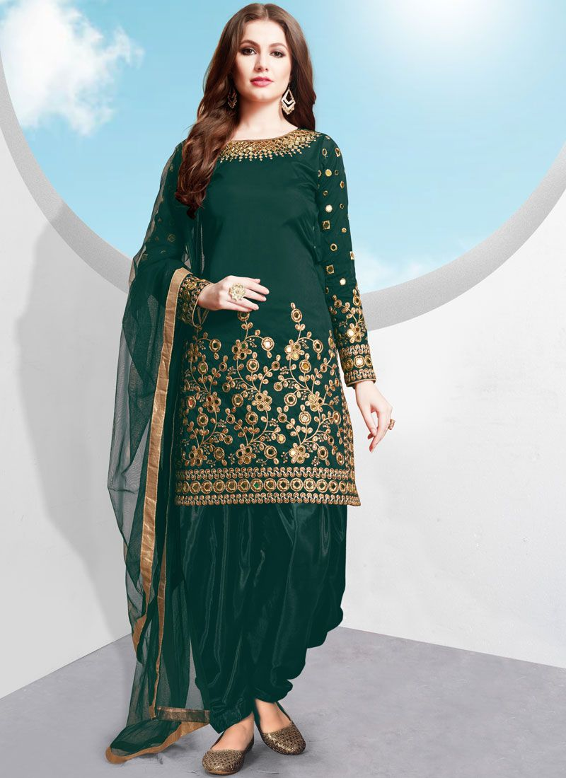 Green Embroidered Tafeta Silk Trendy Patiala Salwar Kameez