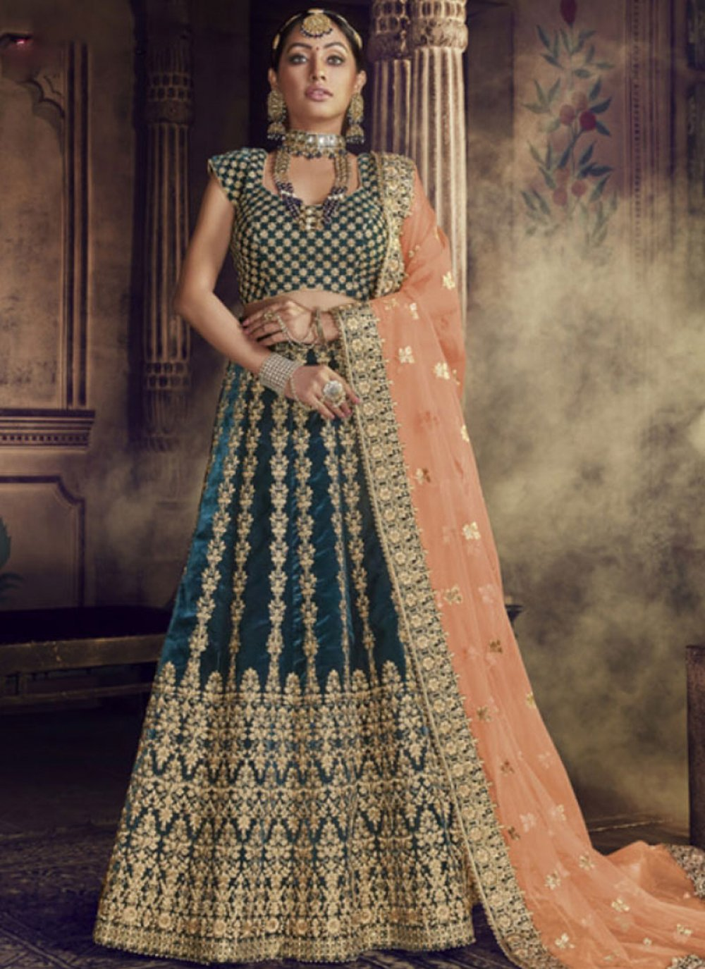 Green Embroidered Velvet Lehenga Choli