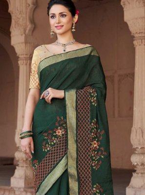 Green Embroidered Viscose Classic Designer Saree