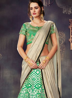Green Embroidered Work Lehenga Saree