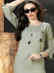 Green Fancy Cotton Party Wear Kurti
