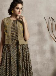 Green Fancy Fabric Abstract Print Party Wear Kurti