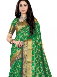 Green Fancy Fabric Ceremonial Traditional Saree