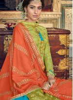 Green Fancy Fabric Designer Palazzo Suit