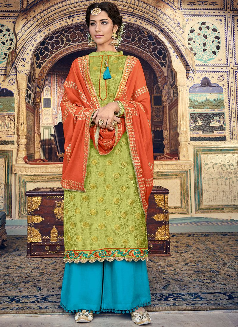 Green Fancy Fabric Designer Palazzo Suit