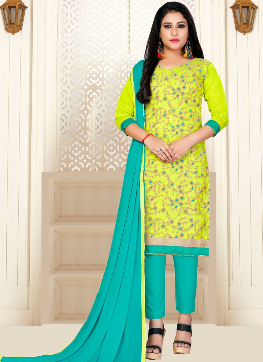 Green Fancy Fabric Designer Straight Suit