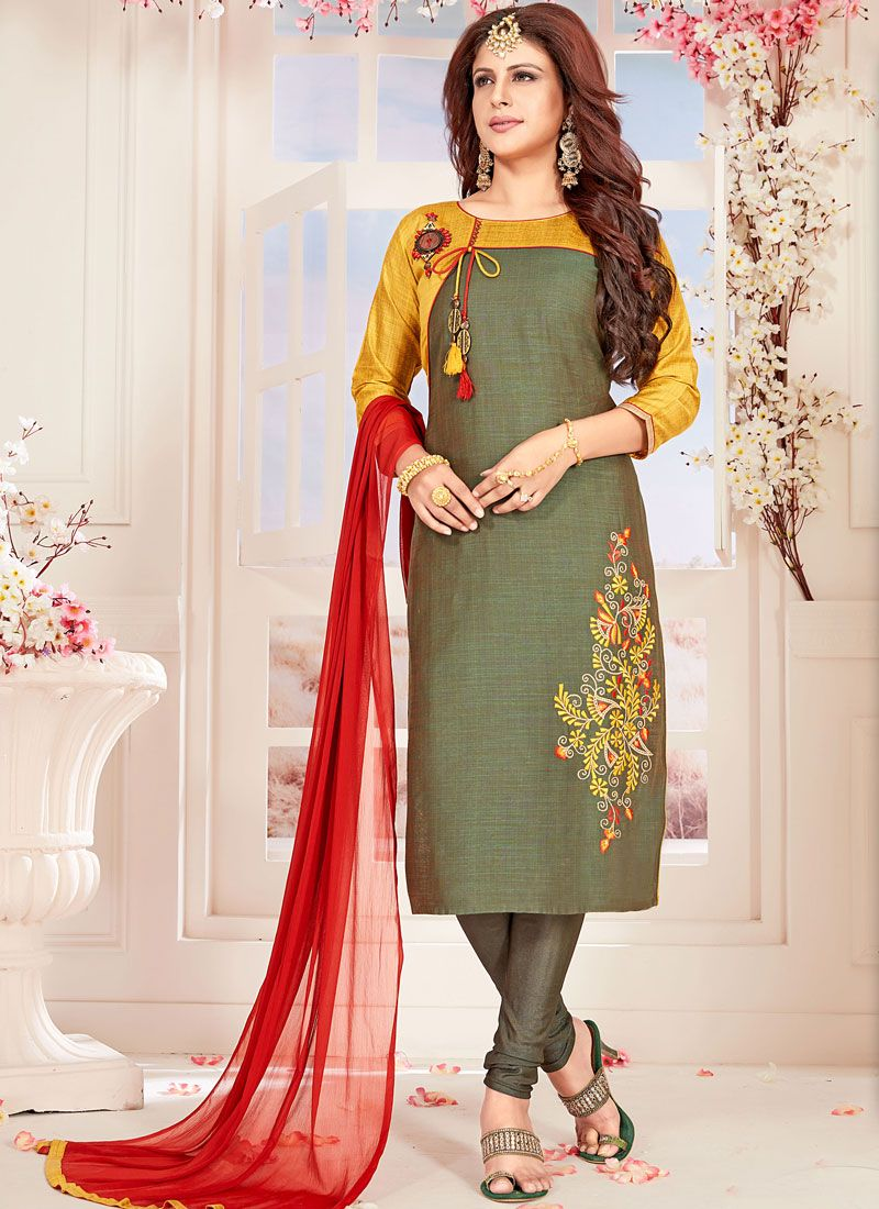 Green Fancy Fabric Festival Readymade Suit
