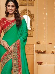 Green Fancy Fabric Reception Trendy Saree