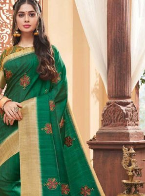 Green Fancy Fabric Saree